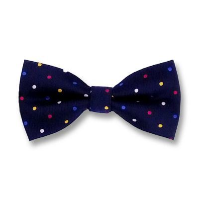 Midnight Blue, Deep Pink, Yellow, Sapphire Blue and White Polyester Polka Dot Butterfly Bow Tie