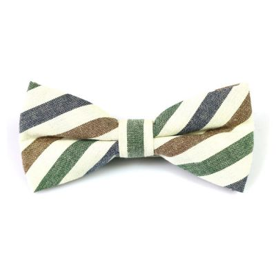White, Dark Slate Grey and Dark Forest Green Cotton Striped Butterfly Bow Tie