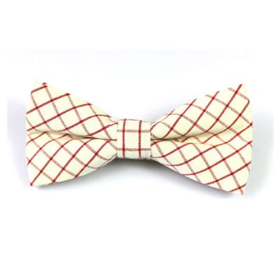 Chilli Pepper and White Cotton Checkered Butterfly Bow Tie