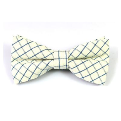 SeaShell and Crystal Blue Cotton Checkered Butterfly Bow Tie
