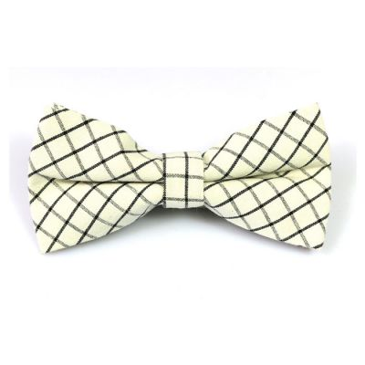Black and SeaShell Cotton Checkered Butterfly Bow Tie