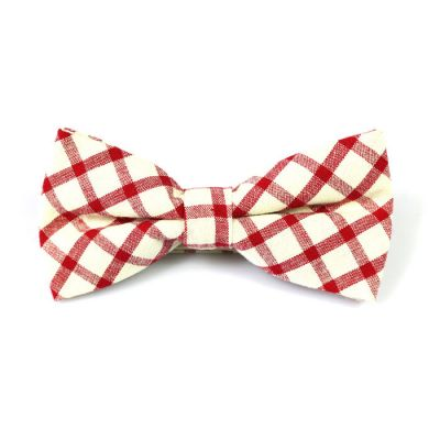 SeaShell and Midnight Cotton Checkered Butterfly Bow Tie