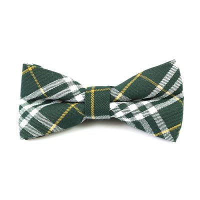 Dark Forest Green, Yellow and White Cotton Plaid Butterfly Bow Tie