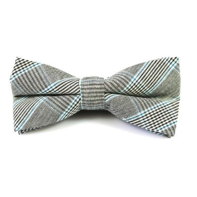Black, White and Mint green Cotton Plaid Butterfly Bow Tie