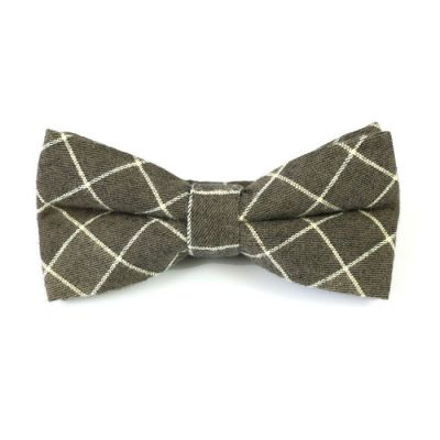 Wood and SeaShell Cotton Checkered Butterfly Bow Tie