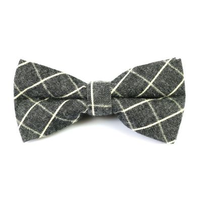 SeaShell and Black Cotton Checkered Butterfly Bow Tie