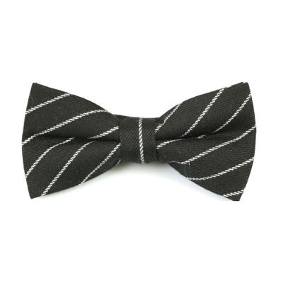 Black and White Cotton Striped Butterfly Bow Tie