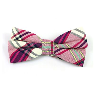 Lemon Chiffon, Black, Rose Gold, Burnt Pink and Yellow Cotton Plaid Butterfly Bow Tie