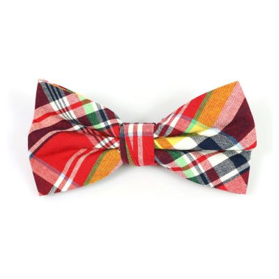 Red, White, Black, Tiger Orange and Mint green Cotton Plaid Butterfly Bow Tie