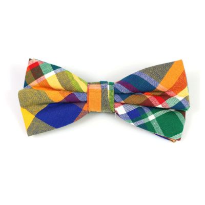 Tiger Orange, Yellow, Purple Iris, SeaShell and Dark Forest Green Cotton Plaid Butterfly Bow Tie