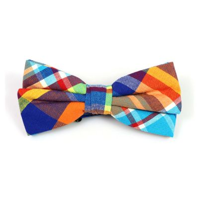 Mint green, Tiger Orange, Midnight, Purple Iris and Mint green Cotton Plaid Butterfly Bow Tie