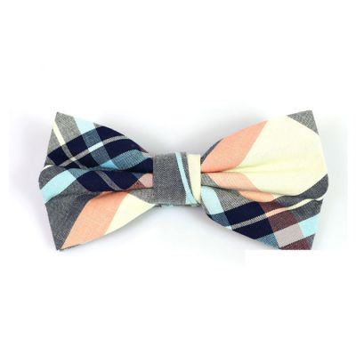 Night, SeaShell, Mint green and Brown Sugar Cotton Plaid Butterfly Bow Tie