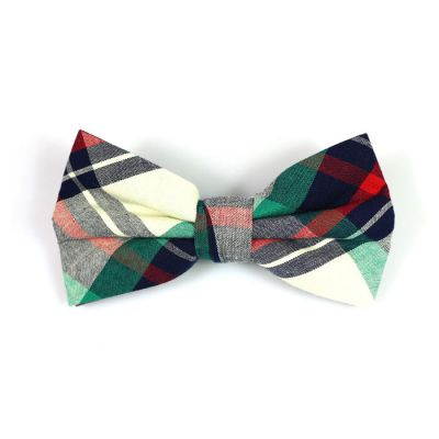Frog Green, Midnight Blue, Red and SeaShell Cotton Plaid Butterfly Bow Tie
