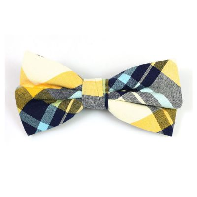Yellow, White, Black and Mint green Cotton Plaid Butterfly Bow Tie