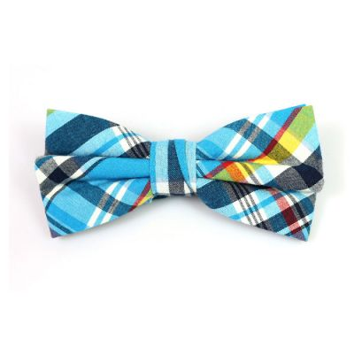 Blue Ivy, Black, White, Navy Blue, Midnight and Yellow Cotton Plaid Butterfly Bow Tie