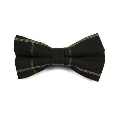 Black and Wood Cotton Striped Butterfly Bow Tie