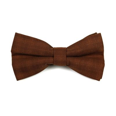 Brown Cotton Plaid Butterfly Bow Tie