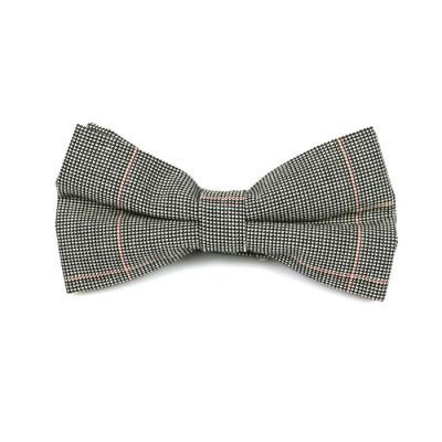 Black, SeaShell and Rose Gold Cotton Checkered Butterfly Bow Tie