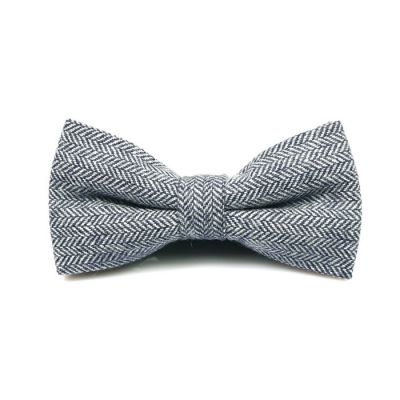 Light Slate Gray Cotton Striped Butterfly Bow Tie