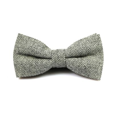 Black Eel Cotton Striped Butterfly Bow Tie