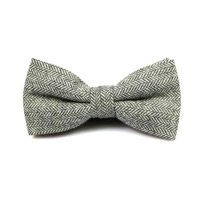 Black Eel Cotton Striped Butterfly Bow Tie