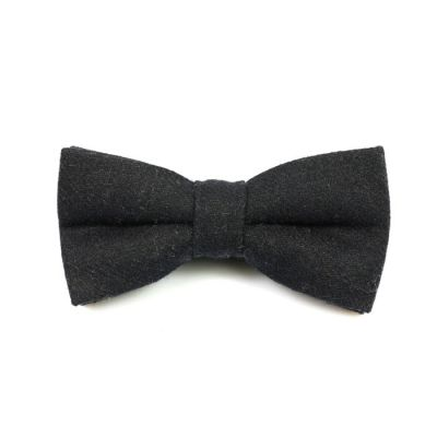 Black Cotton Solid Butterfly Bow Tie