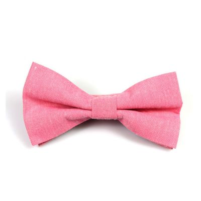 Carnation Pink Polyester Solid Butterfly Bow Tie