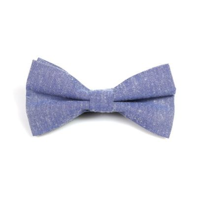 Light Steel Blue Polyester Solid Butterfly Bow Tie