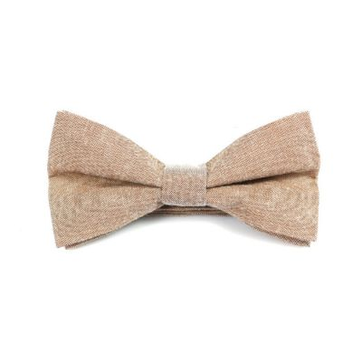 Champagne Polyester Solid Butterfly Bow Tie