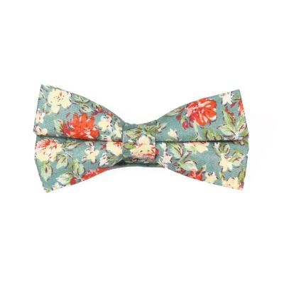 Sea Green, SeaShell and Scarlet Cotton Floral Butterfly Bow Tie