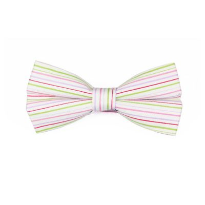 White, Hummingbird Green, Pink, Grape and Valentine Red Cotton Striped Butterfly Bow Tie