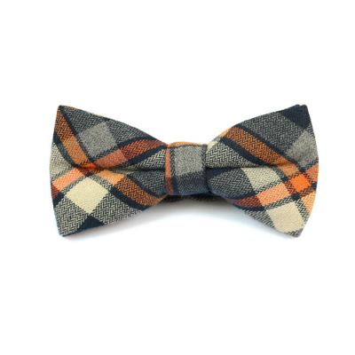 Black, Papaya Orange, SeaShell and Ash Gray Cotton Plaid Butterfly Bow Tie