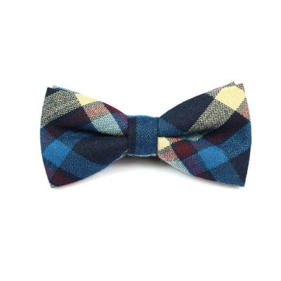 Purple Iris, SeaShell and Mahogany Cotton Plaid Butterfly Bow Tie