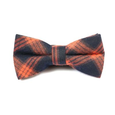 Tiger Orange and Dark Slate Grey Cotton Plaid Butterfly Bow Tie