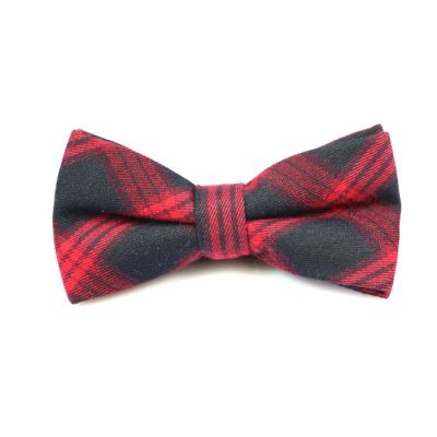 Dark Slate Grey and Valentine Red Cotton Plaid Butterfly Bow Tie