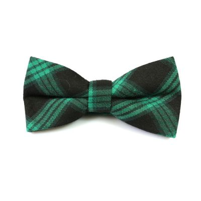 Black and Zombie Green Cotton Plaid Butterfly Bow Tie