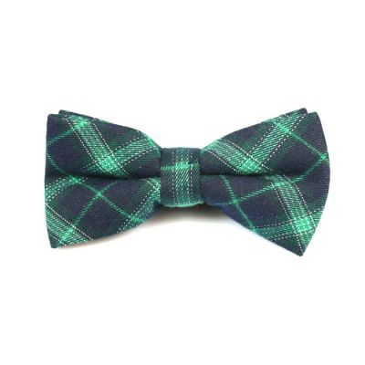 Zombie Green, Midnight Blue and White Cotton Plaid Butterfly Bow Tie