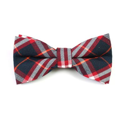Dark Slate Grey, Valentine Red, Tiger Orange and White Cotton Plaid Butterfly Bow Tie