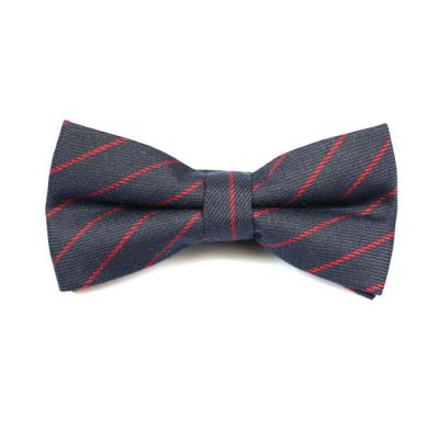 Midnight Blue and Valentine Red Cotton Striped Butterfly Bow Tie