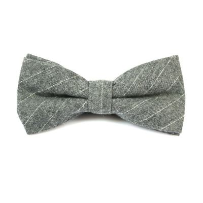Gray Cloud and SeaShell Cotton Striped Butterfly Bow Tie