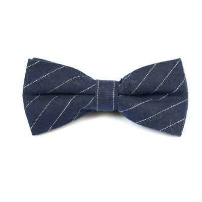 Dark Slate Blue and SeaShell Cotton Striped Butterfly Bow Tie