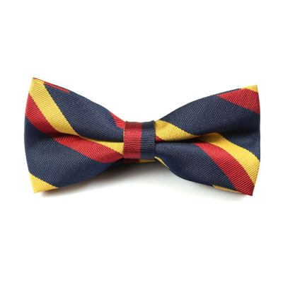 Chilli Pepper, Midnight Blue and Harvest Gold Polyester Striped Butterfly Bow Tie