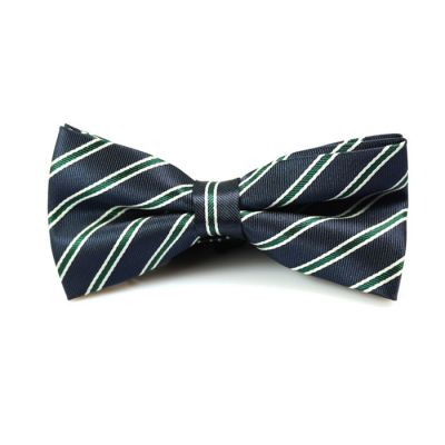 Midnight Blue, White and Dark Forest Green Polyester Striped Butterfly Bow Tie