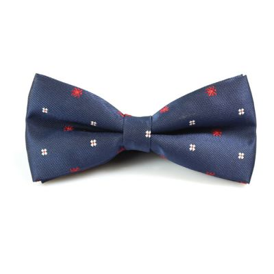 Midnight Blue, Cranberry and White Polyester Novelty Butterfly Bow Tie