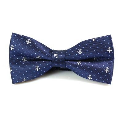 Midnight Blue and White Polyester Novelty Butterfly Bow Tie