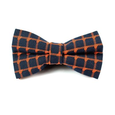Midnight Blue and Camel brown Polyester Checkered Butterfly Bow Tie