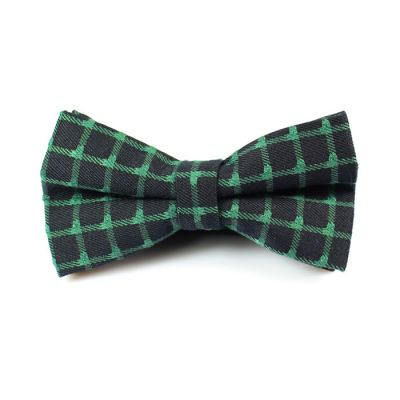 Dark Slate Grey and Medium Forest Green Polyester Checkered Butterfly Bow Tie