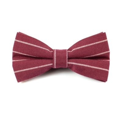 Firebrick and White Polyester Striped Butterfly Bow Tie