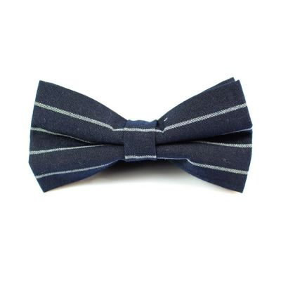 Slate Blue and White Polyester Striped Butterfly Bow Tie