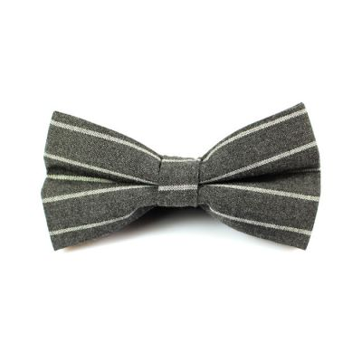 Ash Gray and White Polyester Striped Butterfly Bow Tie